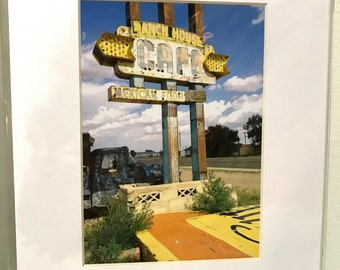 Color matted photograph vintage Ranch House cafe mexican food Route 66