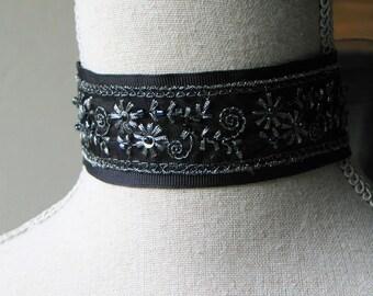 Black and Silver Beaded Choker, Georgian Choker, Romantic Jewelry, Outlander Inspired