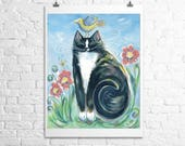 RESERVED for Laurel tuxedo cat- fine art print 5x7
