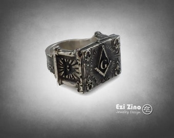 Ezi Zino Jewelry Designer ring never seen before masonic  pillars freimaurer sterling silver 925