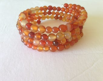Red Agate Memory Wire Bracelet