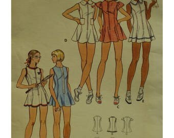 Zipper Front Tennis Dress Pattern, Flared, Sleeveless, Princess Seams, Bloomers, Jewel Neck/Round Collar, Butterick  No. 3050 UNCUT Size 14