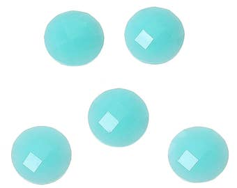 10 Resin Cyan Faceted Dome 8mm