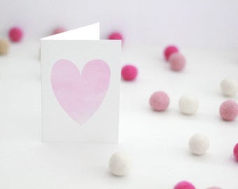 Card with a pink watercolour heart / anniversary card / heart cards / cards with a heart / pink heart card / pink heart / watercolour