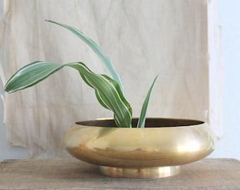 Vintage Mid Century Brass Planter Bowl Footed Ikebana Vase