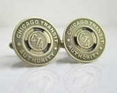 CHICAGO CTA Token Cuff Links - Gold / Brass - Vintage Repurposed Coins
