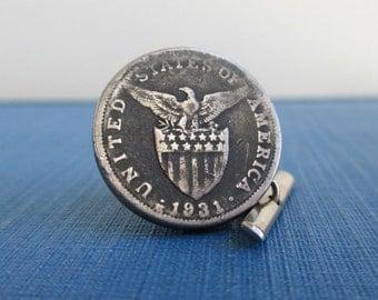 USA Eagle & Shield Tie Tack - Vintage 1931 Repurposed Coin