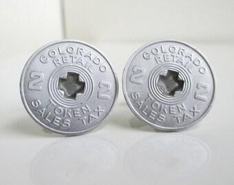 Colorado Coin / Token Cuff Links - Vintage Repurposed Sales Tax Tokens