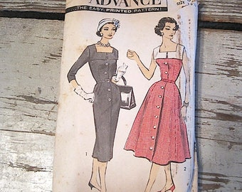 Vintage Advance Size 18 1/2 Dress Pattern