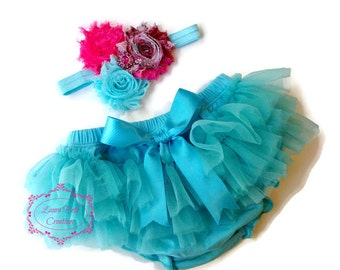 Aqua Tutu Bloomer and Shabby Chic Triple Rose Headband Set, All Around Bloomer Skirt, Chiffon Ruffle Bloomer Tutu, Baby Photo Prop Set
