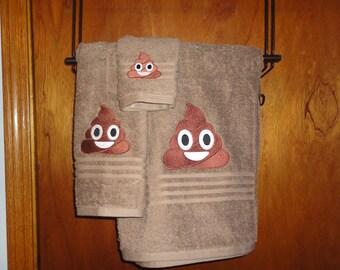 Emoij - Poop Emoij - Soft Serve Emoij - Embroidered Bath Towel Set - Bath Towel, Hand Towel and Washcloth - Shown on Brown
