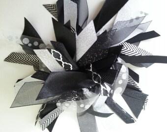 Black and Silver Ribbon Ponytail Streamer