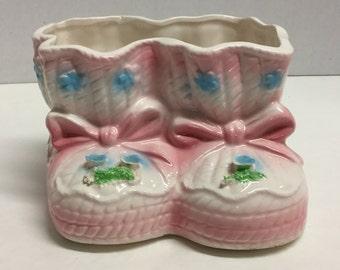 Vintage Nursery Baby Bootie Baby Booties Planter Ceramic Pink Bootie Pink Booties Japan 1987 Relpo