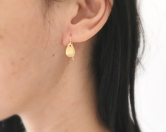 Small Gold Drop Earrigs,Brushed Gold Earrings,Gold Teardrop Earrings,Gold Petal Earrings,Gold Leaf Earrings,Small Gold Dangle Earrings