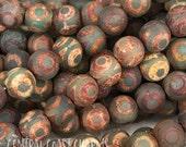 "8mm Tibetan dZi Agate Heaven Eye Matte Aged Smooth Round Gemstone Beads - Earthy Rustic Bohemian Mala - 15"" Strand - Central Coast Charms"