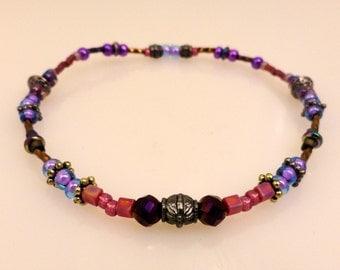 Glass Beaded Anklet or Large Bracelet