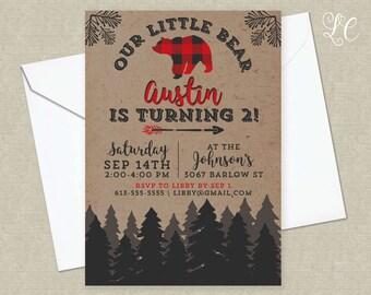 Two Year Old Birthday Invitation - Lumberjack Birthday - Little Bear Invitation - Little Boy Invitation - Rustic Invitation - Boy Invitation