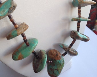 Vintage Chunky Turquoise Large Stone Necklace Brown