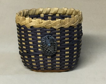 Small Oval Basket, Hand Woven, Navy Blue Accent Color, Hand Made Tie-on