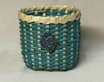 Small Oval Basket, Hand Woven, Teal Accent Color, Hand Made Tie-on