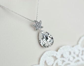 Starfish Necklace, Cubic Zirconia Starfish and White Swarovski Crystal Teardrop , Bridal Bridesmaids Necklace, Beach Wedding Necklace