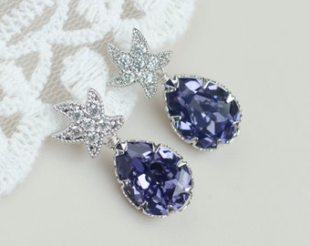 Tanzanite Swarovski Starfish Earrings,Tanzanite Swarovski Teardrop CZ Starfish Earrings,Bridal Bridesmaids Earrings,Beach Wedding Earrings