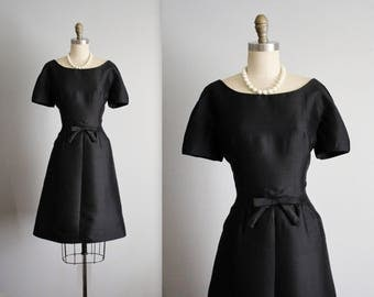 60's Cocktail Dress // Vintage 1960's Black Shantung Cocktail Party Little Black Dress L