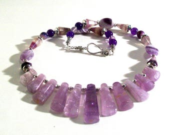 Genuine Amethyst Bib Necklace Set, Genuine Amethyst Gemstone Statement Necklace, 2 Piece Set, Amethyst Necklace