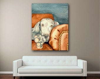 Weimaraner Dog Print - Pet Portrait Watercolor Painting - Art Print on Paper or Canvas