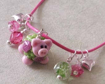 Pig Charm Necklace, Pig Jewelry, Pink, Glow in the Dark