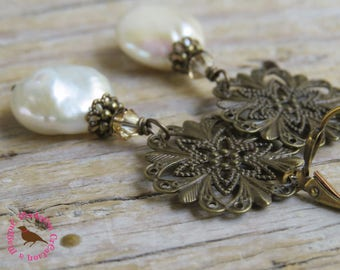 Long Cream Coin Pearl Antiqued Gold Earrings, Long Off White Coin Pearl Leverback Earrings, Brass Filigree, by MagpieMadness for Etsy
