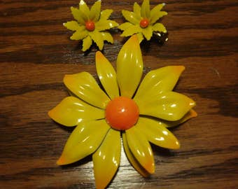 Sunny Enamel Pin and earrings
