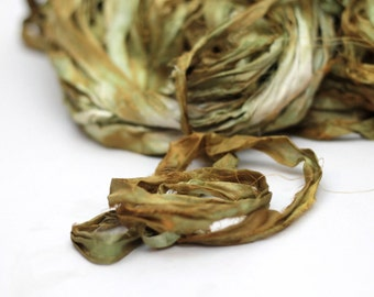 "Recycled Sari Ribbon ,by the yard, ""Undergrowth"" hand dyed chiffon ribbon, jewelry making, doll clothing, spinning supplies"