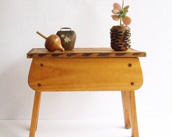 Wooden Stool, Shoe Shine Box, Folk Art Style, Rustic Display Shelf, Cottage Decor,