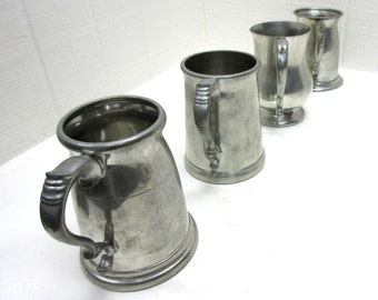 Vintage Sheffield Pewter Tankard Lot Of 4