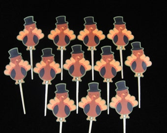 Turkey Cupcake Toppers, Paper Cupcake Toppers, Thanksgiving Cupcake Toppers, Thanksgiving Sweets, Kids Parties, Fall Cupcake Toppers -Qty 12