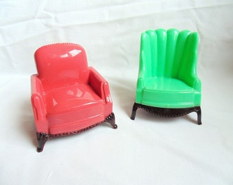 Dollhouse Chairs. Upholstered Chairs. Plasco. Chairs. Two Chairs. Living Room Chairs. 1950s dollhouse. very nice condition. Toy Furniture.