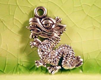 50 silver dragon charms pendants komodo lizard fire breather scales fantasy storybook fairytale 19mm x 16mm - C0372-50