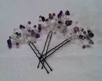 Amethyst hair pins