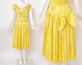1940s Sparkle Linen Dress / 40s Dress / 40s
