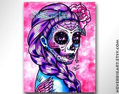 40 PERCENT OFF Sugar Skull Girl Signed Limited Edition Art Print Miranda Day of the Dead Tattoo Flash - 1 of 25 - aprx 11x14 inches