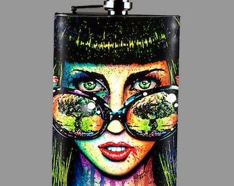 Stainless Steel 8 oz. Hip Flask - Pop Art Horror Splatter Portrait - Color Bomb - Edgy Punk Rock Girl With Atomic Bomb