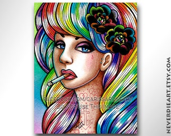 Limited Edition 6 out of 25 8x10 in Art Print - Hard Candy - Tattooed Pin Up Girl With Rainbow Hair