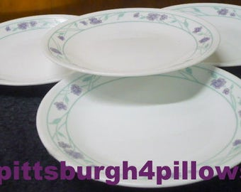 4- Corelle - Simply Spring - Bread and Butter Plates - 6 3/4 - Purple Flowers - EUC - No Damage