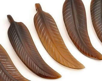 Carved-54x15mm Feather Pendant-Brown-Quantity 1