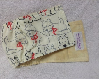 Male Dog Belly Band Diaper Pet Panties Doggie Wrap Pants Cotton Flannel Scottie Scottish Terrier Fabric Custom Sizes To 30 Inches
