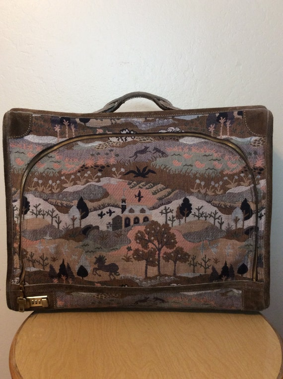 Vintage 1970s The French Luggage Company Tapestry Suitcase