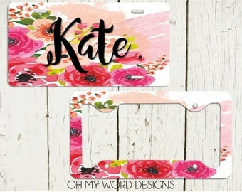 Personalized Car Tag-Personalized License Plate-Monogram Car Tag-Monogrammed License Plate-Flower Car Tag-License Plate Frame