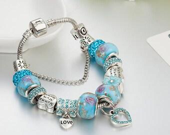 """Turquoise Blue European Beads Silver Bracelet Flower Glass Lampwork Murano Beads Heart Charm 7""""~7.9"""" E01"""