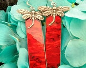 Dragonfly red rippled mirror glass stained glass with silver dragonflies earrings brockus creations